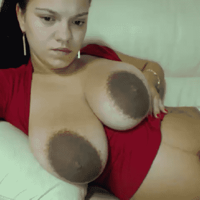 Dark coloured huge nipples
