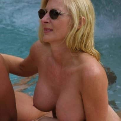 Fake Boobs in the Pool