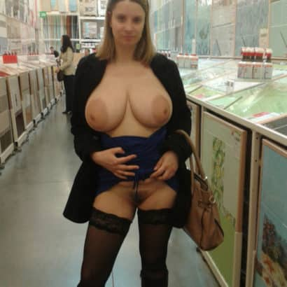 Teen with huge boobs in the supermarket
