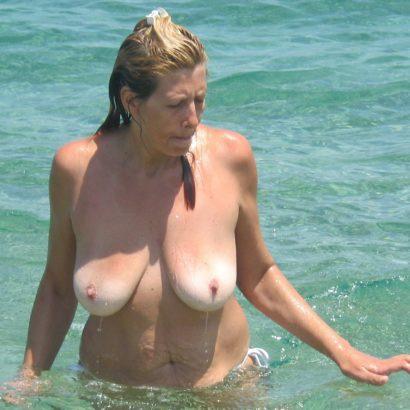 saggy mature in the ocean