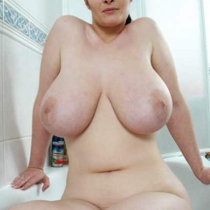 Shower big saggy tits