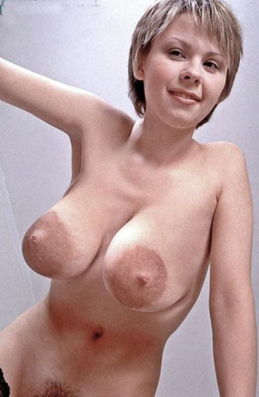 White girl with dark nipples