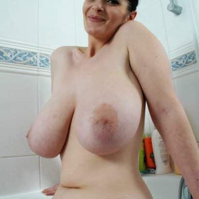 big floppy boobs in her bathroom