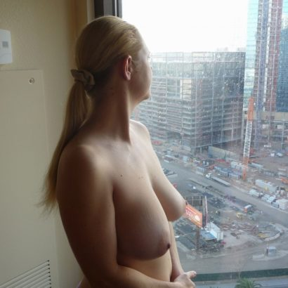 best boobs in front of her window